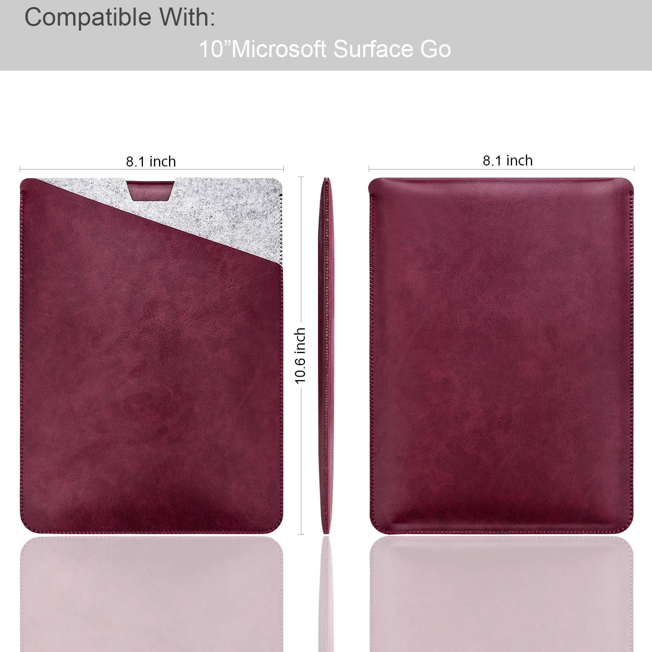 279cb33d1841 WALNEW 10-Inch Sleeve Case for Surface Go - Dual Pocket Protective tablet  Case Cover Carrying Laptop Bag with Extendable Mouse Pad, Wine Red:  Amazon.co.uk: ...