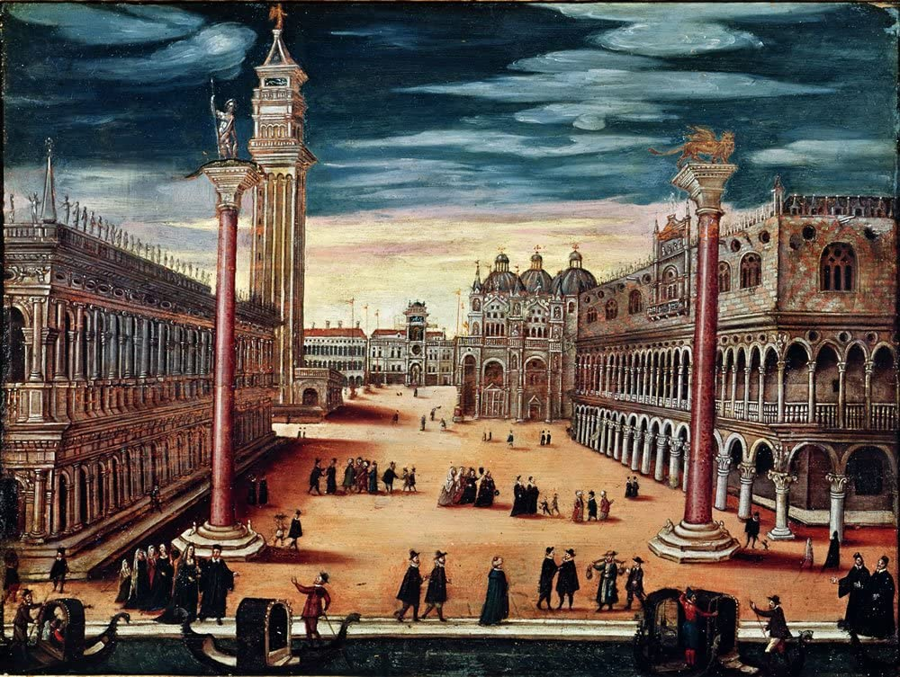 oil on. - Postcard Pack Of 8 The Piazzetta di San Marco Venice Art247 Standard Size Pack of 8 - 6x4 inch