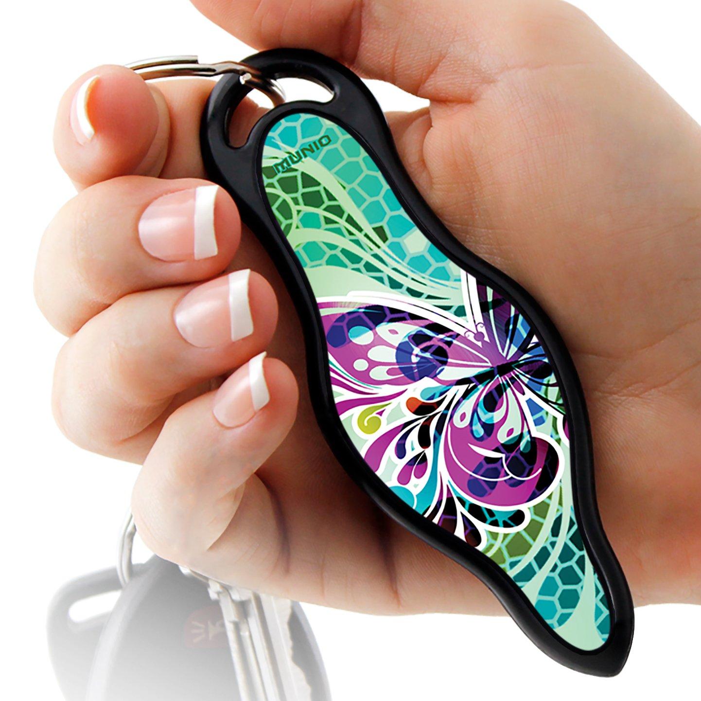 """MUNIO Designer Self Defense Keychain """"Butterfly Glass"""""""