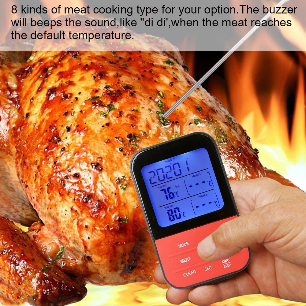 Wireless Barbecue Thermometer,iDeep Digital Meat Thermometer Cooking Thermometer Food Thermometer Instant Read Screen Timer Alert Function about 98 Feet Range with 2 Probe for BBQ Oven Picnic Kitchen by iDeep (Image #7)