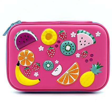 Estuche para lápices con diseño de frutas coloridas en relieve, caja grande de color con compartimentos para niños, bolsa de cosméticos para niñas, color hot pink: Amazon.es: Oficina y papelería