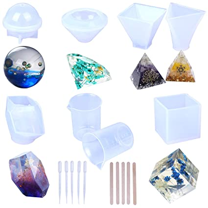 Resin Casting Molds, Large Clear Silicone Epoxy Resin Molds Includs  Pyramid/Diamond/Cubic/Stone Shape/Sphere/Triangular Pyramid for DIY Jewelry  Craft