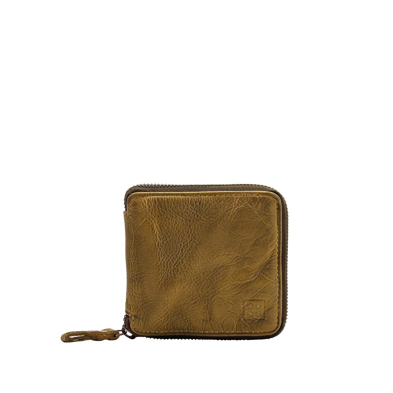 DUDU Mens Leather Zipper Wallet Zip Around Wallet Bifold Multi Card Holder Purse with Coin Pocket Pistachio Green