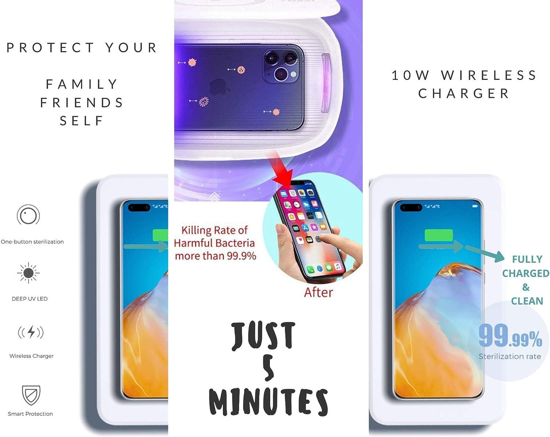 UnVulnerable Box UV Sanitizer Box Microfiber Cloth Portable Light Phone Sterilizer Cleaner UVC Light Sanitizer Phones Jewelry Iphone Wireless Smartphone Charger Phone Soap Disinfecting Machine Mask