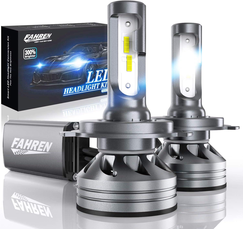 Fahren H4/9003/HB2 LED Headlight Bulbs, 60W 12000 Lumens Super Bright LED Headlights Conversion Kit 6500K Cool White IP68 Waterproof