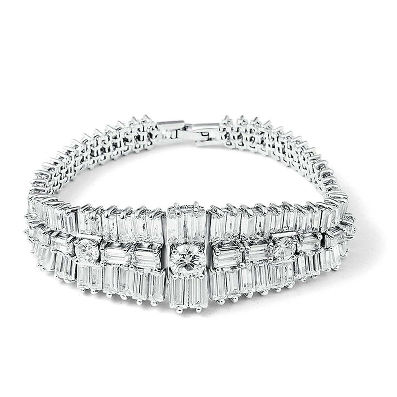 Beydodo Charms Bracelet,Gold Plated Bracelet Women Round Halo Oval Cubic Zirconia Adjustable Bangle