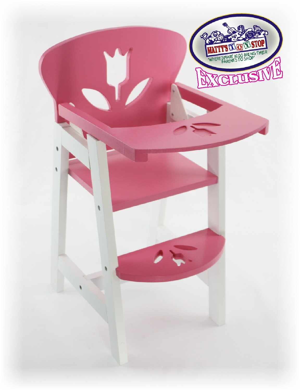 Pink u0026 White Wooden Doll High Chair with Lift-Up Tray for up to 20 inch Dolls & Pink u0026 White Wooden Doll High Chair with Lift-Up Tray for up to 20 ...