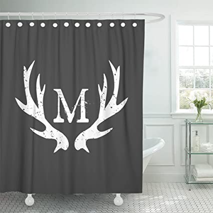 Accrocn Waterproof Shower Curtain Curtains Fabric Monogram Deer Antlers 60x72 Inches Decorative Bathroom Odorless Eco Friendly