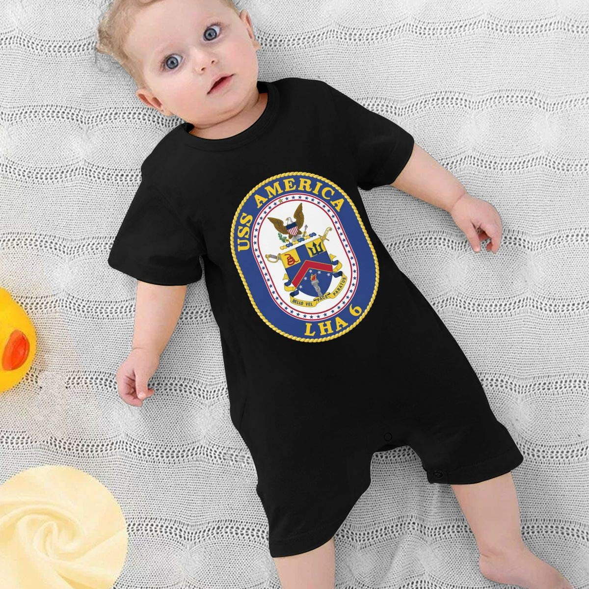 Baby Boys Girls Romper Jumpsuit USS America LHA-6 Newborn Short Sleeve Bodysuits Infant Outfit Funny Onesie for 0-2T