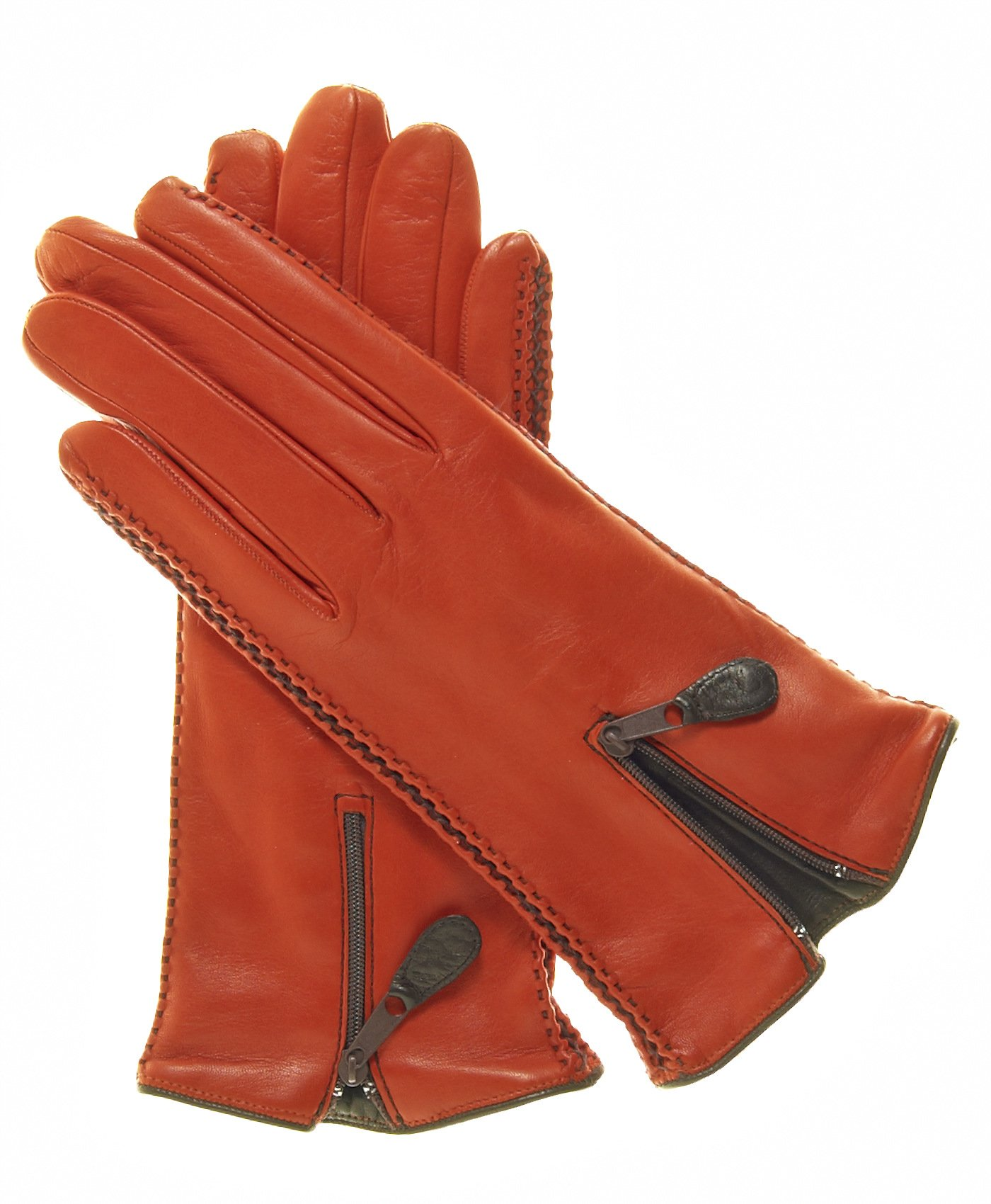 Fratelli Orsini Women's Lambskin Cashmere Lined Leather Gloves with Zipper Size 6 Color Persimmon