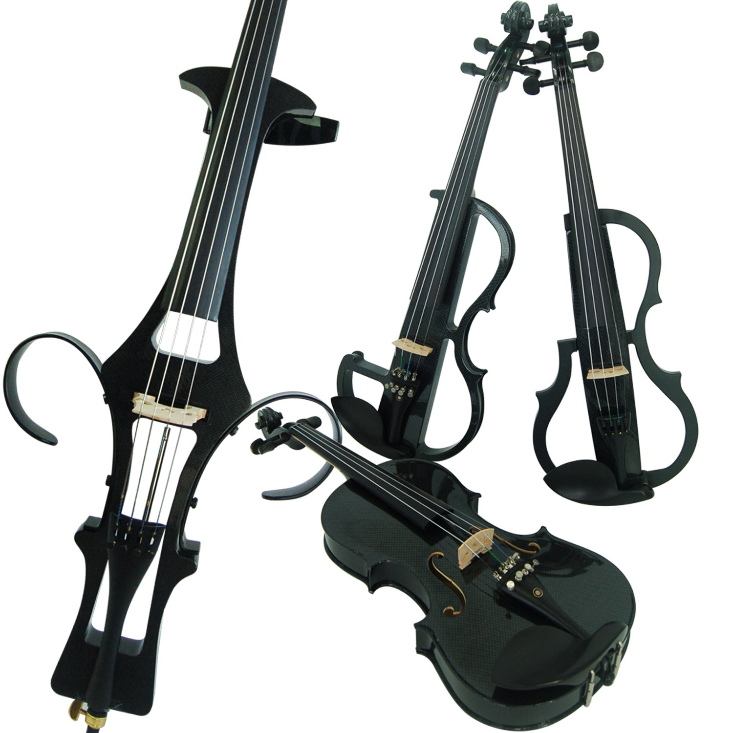 Leeche Wood Electric Violin Full Size 4/4 Intermediate-A Electric Silent Carbon Fiber Violin Kit With Case, Bow, Rosin, headphones, Shoulder Rest, Strings, Finger Guide DSZALE-E311