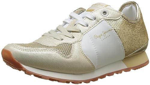 Pepe Jeans London Verona W Sequins, Zapatillas Mujer, Dorado (Gold), 36 EU
