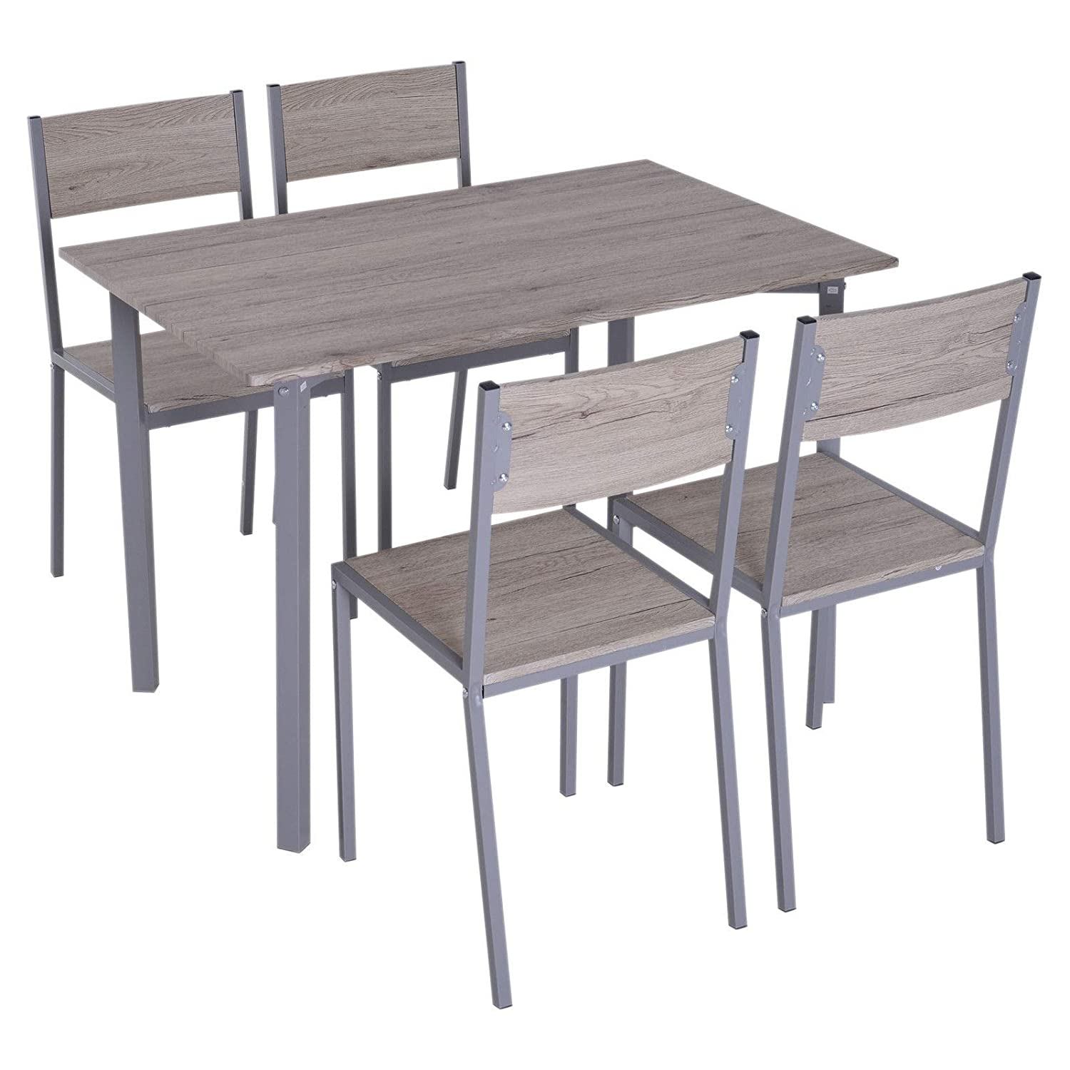 Natural Wooden 5 PCS Dining Set 1 Table 4 Comfortable High Back Armless Chairs Grey Steel Frame Construction Breakfast Lunch Dinner Home Kitchen Nook Dining Room Restaurant Pubs Furniture Décor
