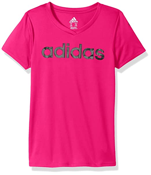 6436b737 Amazon.com: adidas Girls' Big V-Neck Performance T-Shirt: Clothing