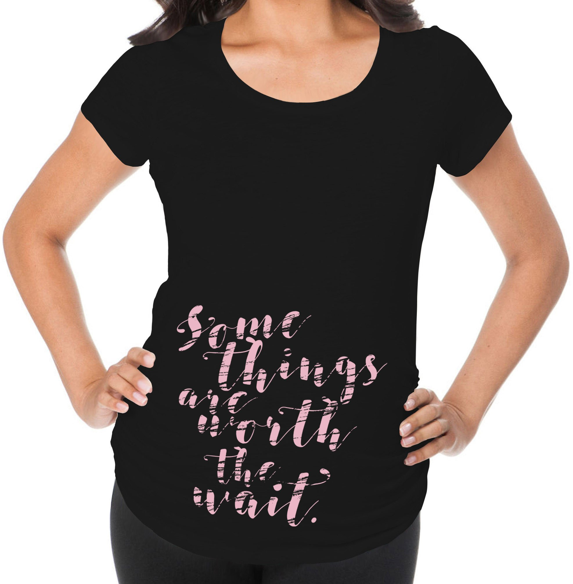 Awkward Styles Some Things Are Worth The Wait Inspirational Pregnancy Announcement Maternity T Shirt New Mom Gift Black 2XL