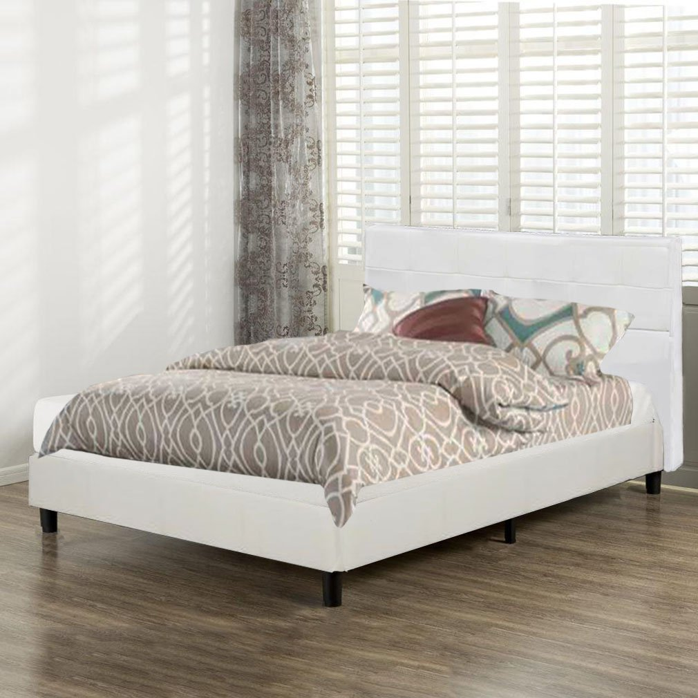 BestMassage Platform Bed Upholstered Headboard Tufted Leather with Wooden Slats Queen Size