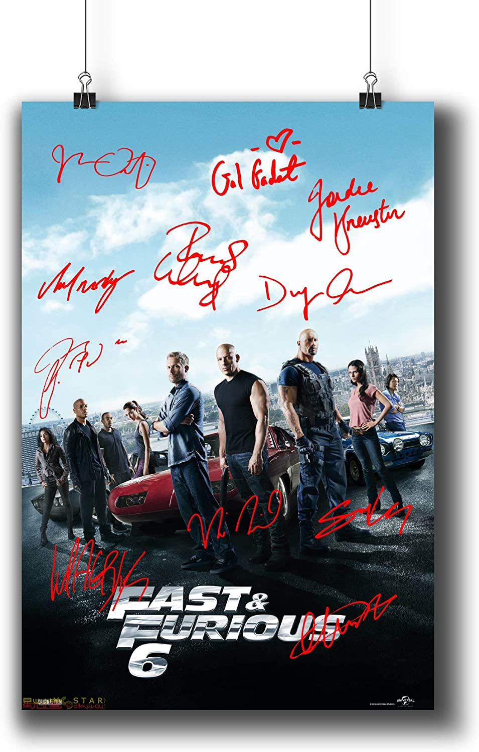 Fast & Furious 6 (2013) Movie Poster Small Prints 423-601 Reprint Signed Casts,Wall Art Decor for Dorm Bedroom Living Room (A3|11x17inch|29x42cm)