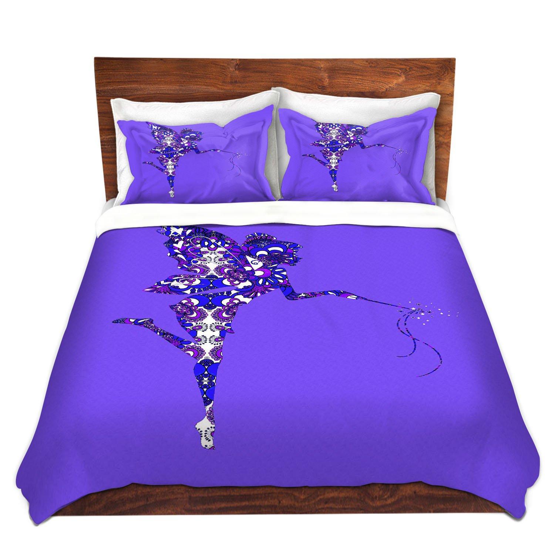DiaNoche Designs Fairy Dance Blue Periwinkle Cover, 8 King Duvet Sham Set