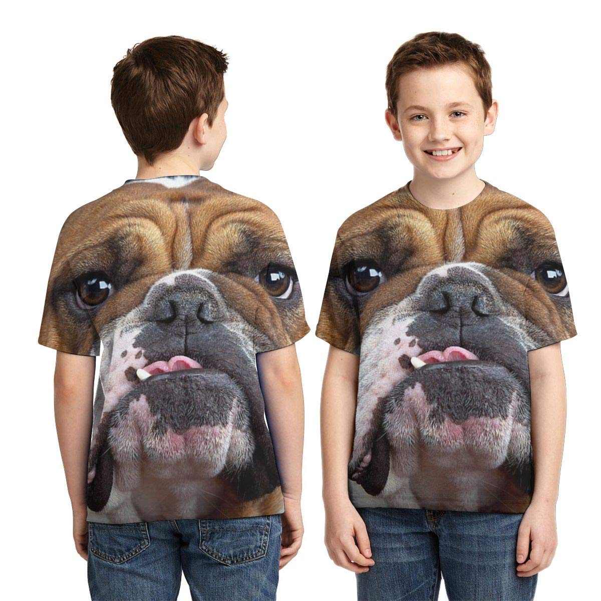 Casual Blouse Clothes Vy32jg-2 Short Sleeve Bulldog Face T-Shirts for Children XS-XL