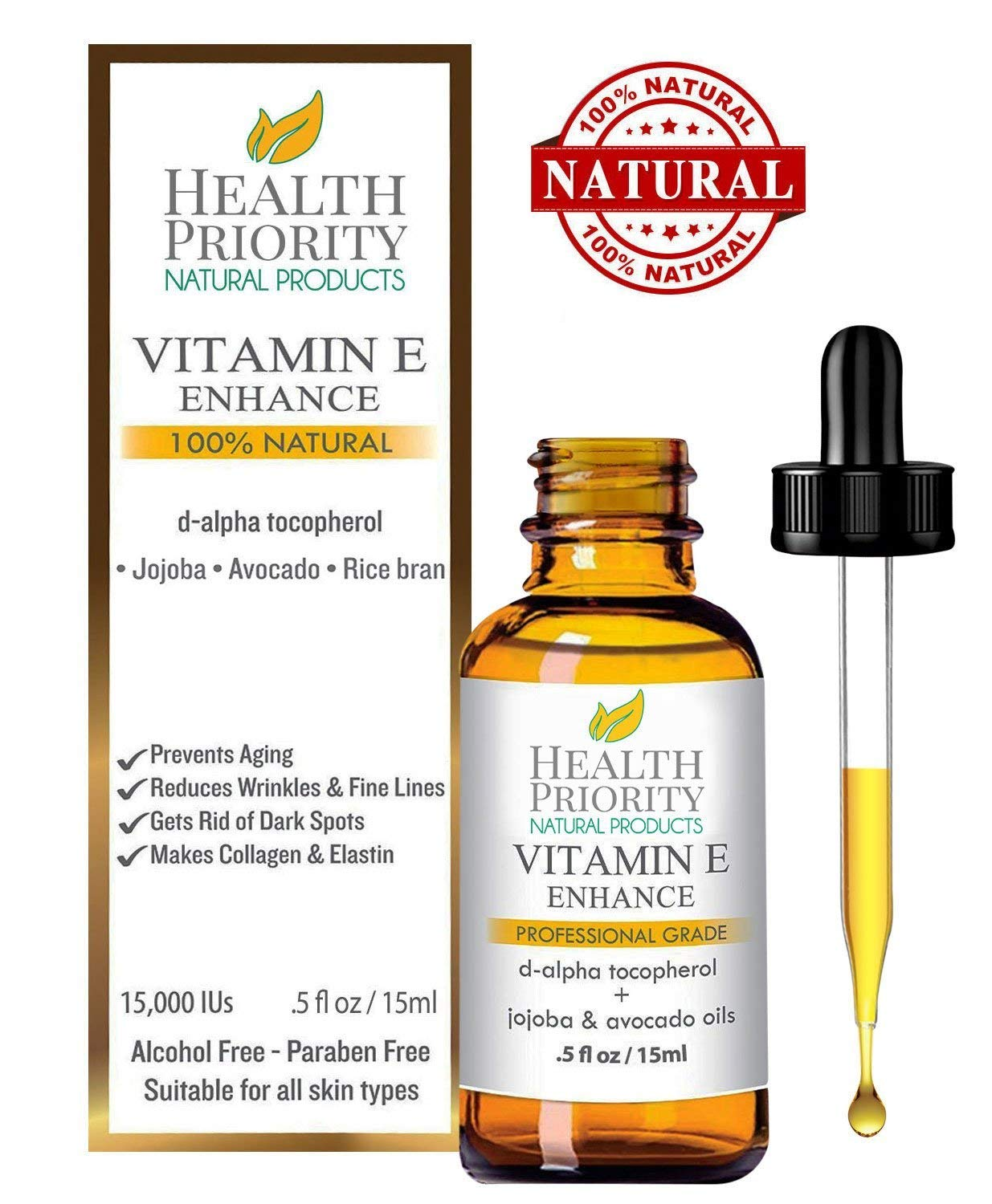 100% Natural & Organic Vitamin E Oil For Your Face & Skin, Unscented - 15,000/30,000 IU - Reduces Wrinkles & Fade Dark Spots. Essential Drops Are Lighter Than Ointment. Raw Vit E Extract Sunflower. by Health Priority Natural Products
