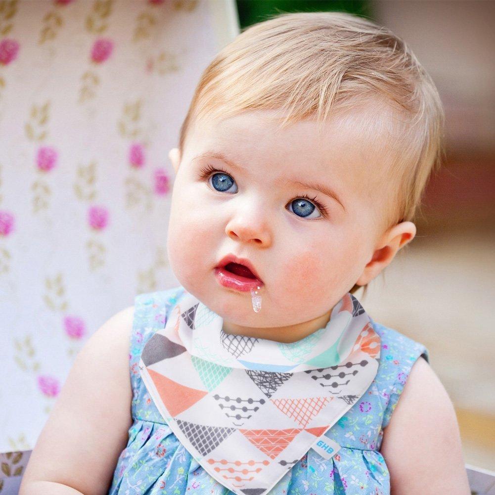 BabyIn 6 Paquete BabyDew Bandana dentici/ón y Alimentaci/ón baberos 3 capas de bamb/ú suave de algod/ón resistente al pa/ño grueso y suave babero con broches de presi/ón para beb/és babeo