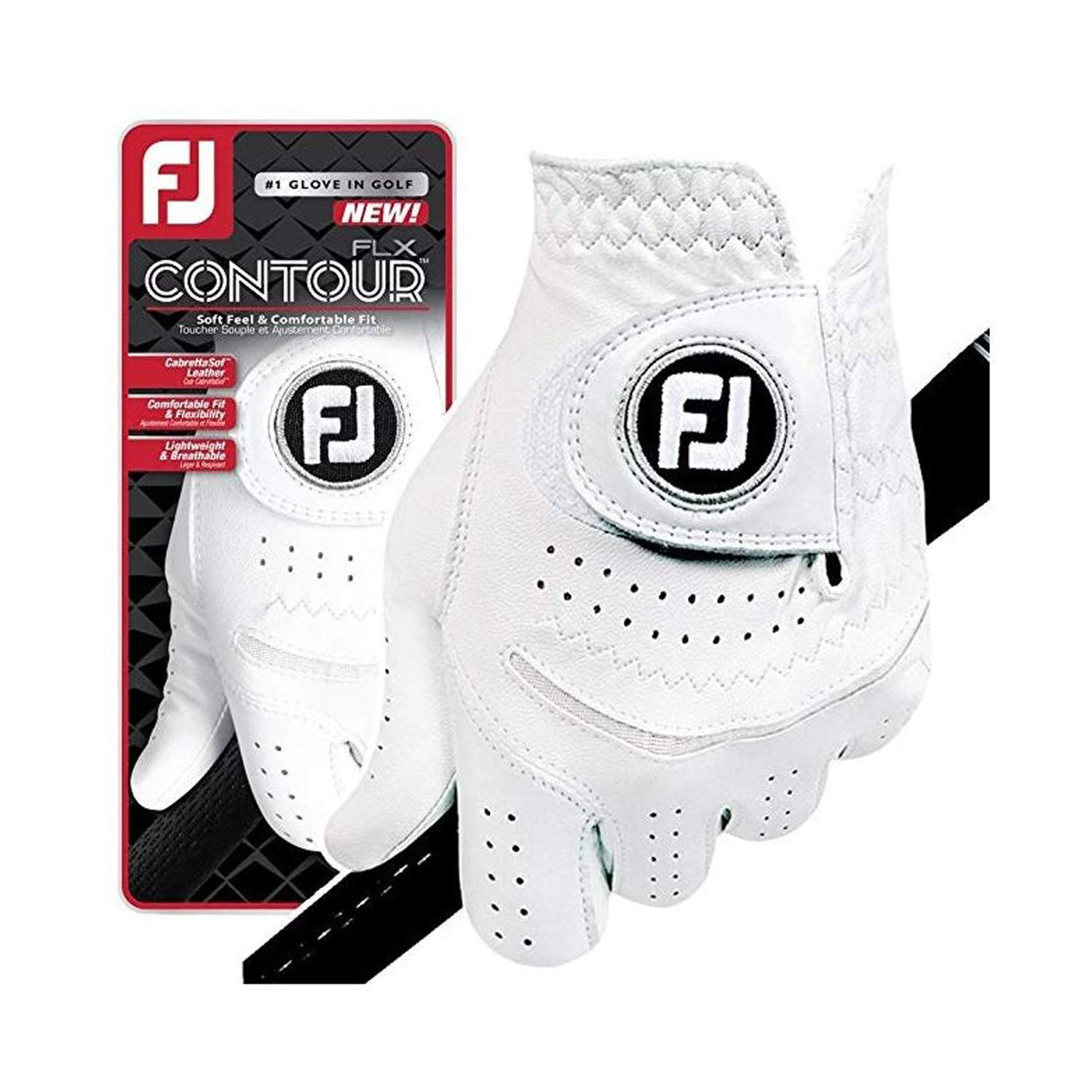 FootJoy New Contour FLX Flex Men's Premium Golf Glove w/CabrettaSof Leather #1 Glove in Golf (Small 6 Pack-Master Carton, Worn on Left Hand)