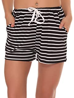 8e1cd2c36a Fayejove Women Solid and Striped Sleep Shorts Stretchy Cotton Pajama Shorts  Yoga Gym Bottoms