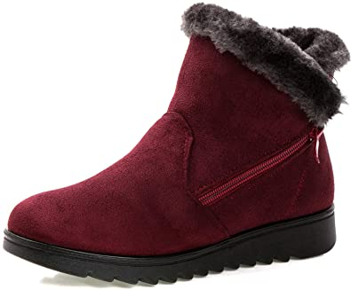 Womens Winter Ankle Booties Fur Lined Snow Boots Slip On Warm Casual Cozy Shoes