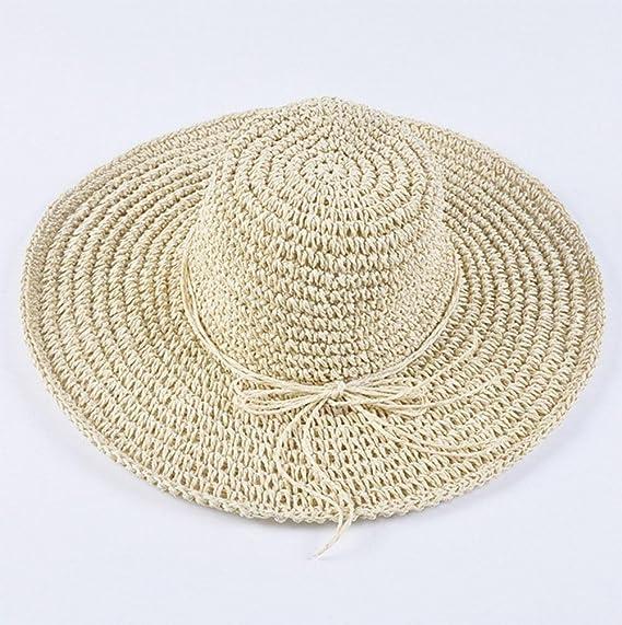 Huecas de gran sombrero de paja de ala ancha, sombrero de playa ...