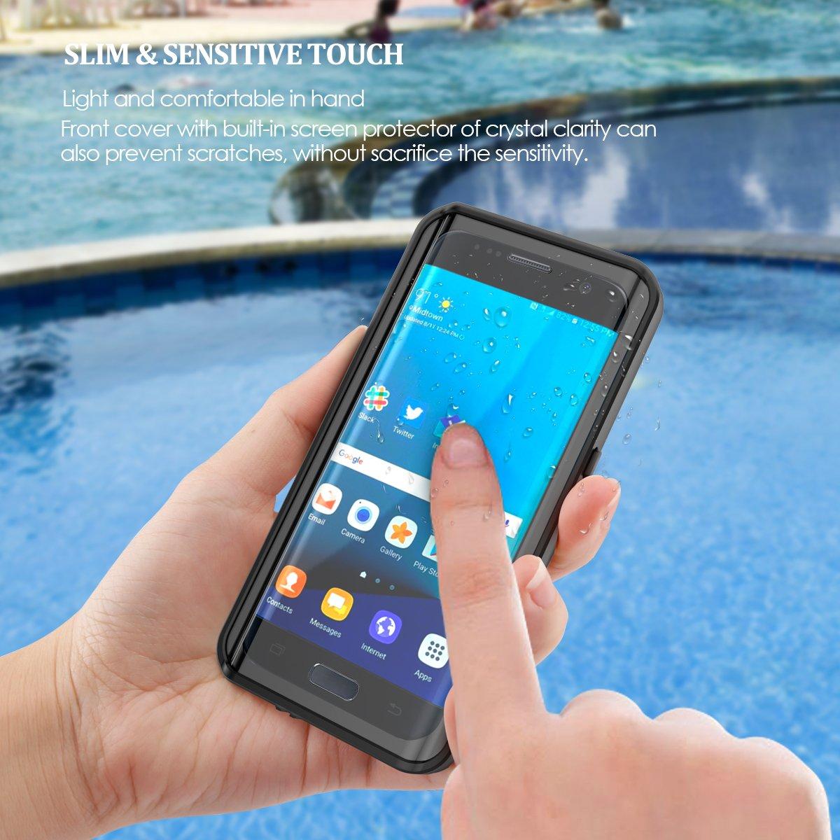 Kompatibel mit Samsung Galaxy S7 Edge Wasserfeste H/ülle Schwarz IP68 Wasserdichte 360 Grad Ganzk/örperabdeckung mit Displayschutz Sto/ßfest Schutzh/ülle Handytasche f/ür Samsung Galaxy S7 Edge