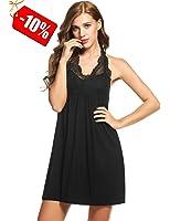 Ekouaer Sleepwear Womens Nightgowns Sleeveless Lace Trim Knit Lounge Dress