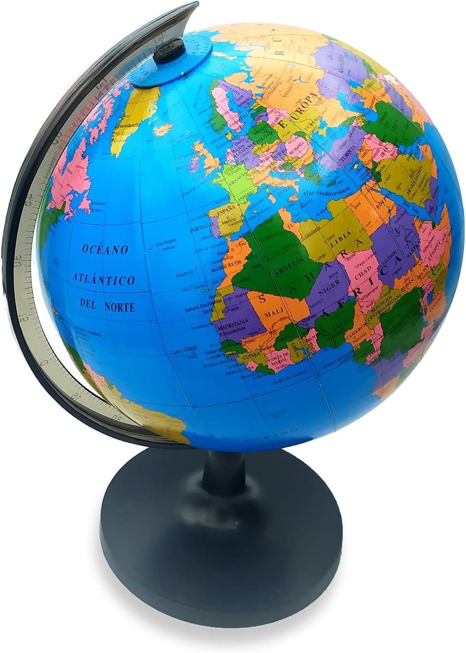 EUROXANTY Globo terráqueo | Globo Mapa Mundi | Mapa en Castellano | Giratorio | Estudiar Geografía | Decoración para escritorio | Diámetro 18 cm