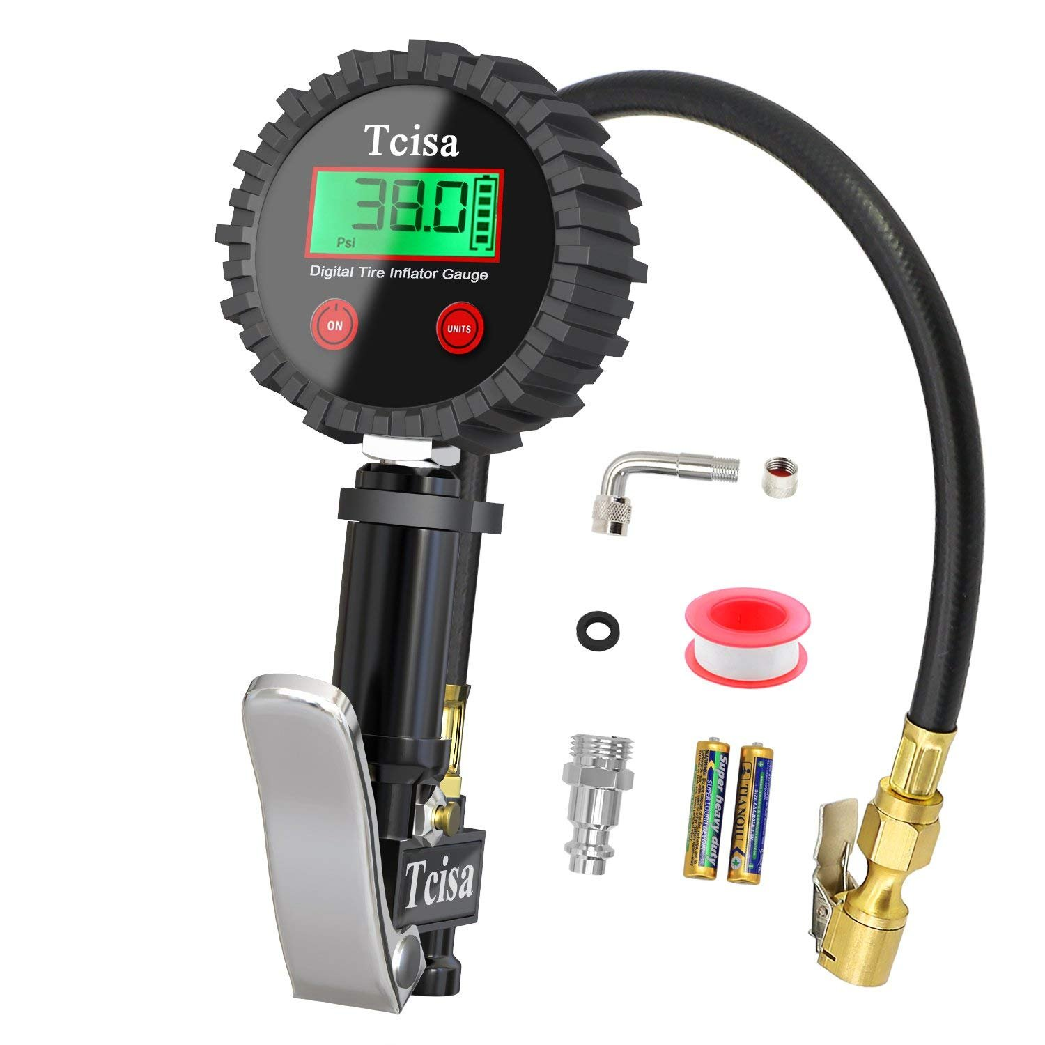 Tcisa Tire Inflator with Pressure Gauge - Digital Heavy Duty 200 PSI Air Pressure Gauge with Brass Air Chuck Valve Extender Rubber Air Hose Quick-Connect Fitting