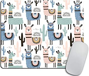 Llama Mouse pad, Cute Animal Alpaca with Cactus Rectangle Non-Slip Rubber Mousepad 9.5 X 7.9 Inch (240mmX200mmX3mm)