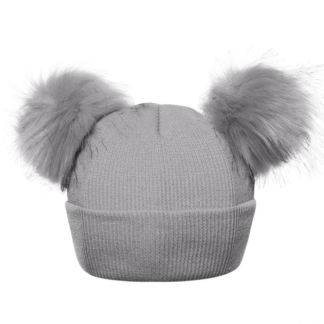 MIOIM Beautiful Baby Girls Boys Winter Hat Double Faux Fur Pompom Beanies Ski Cap