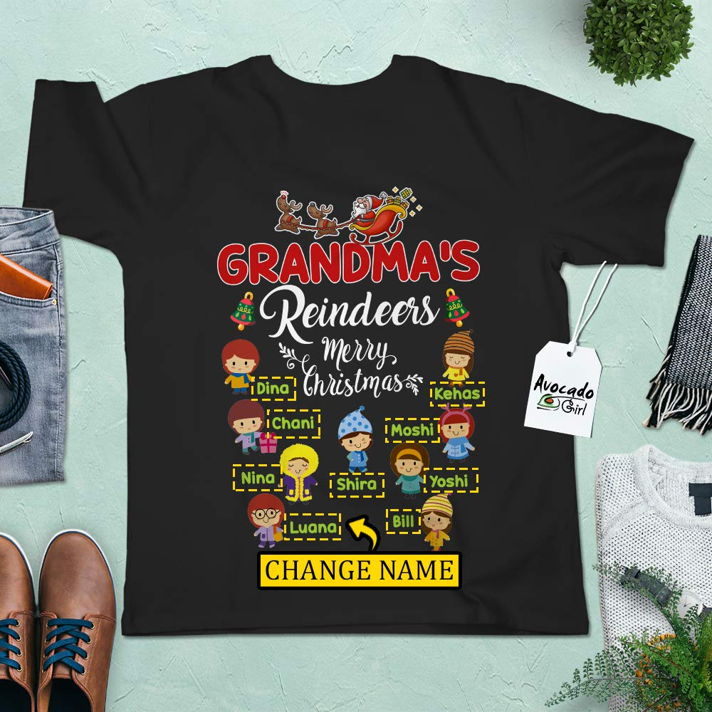 Grandma's Reindeer With Grand Name Merry Christmas Nana Papa Xmas Gifts Customized Handmade Short Sleeve Blend Tank Top T Shirt