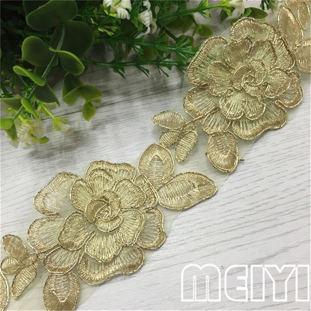 1 Yard Gauze Flower Lace Edge Trim Ribbon 6.5 cm Width Vintage Style Golden Edging Trimmings Fabric Embroidered Applique Sewing Craft Wedding Bridal Dress Embellishment DIY Decor Clothes Embroidery Qiuda