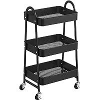 SONGMICS Wózek z 3 poziomami, metalowy wózek do serwowania, wózek kuchenny, półka kuchenna z uchwytami, 2 hamulce, łatwy…