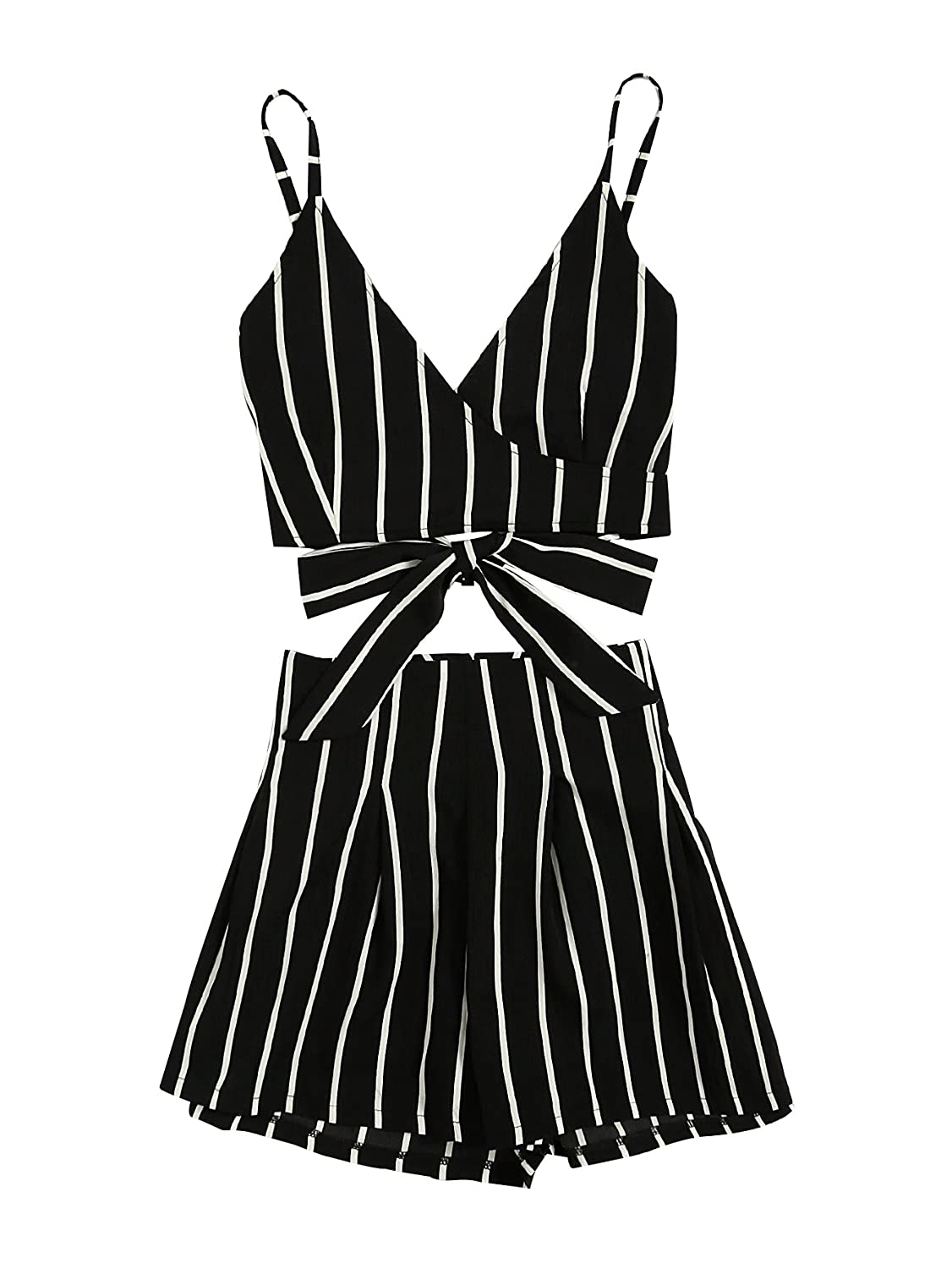 MAKEMECHIC Women's 2 Piece Outfit Summer Striped V Neck Crop Cami Top with Shorts