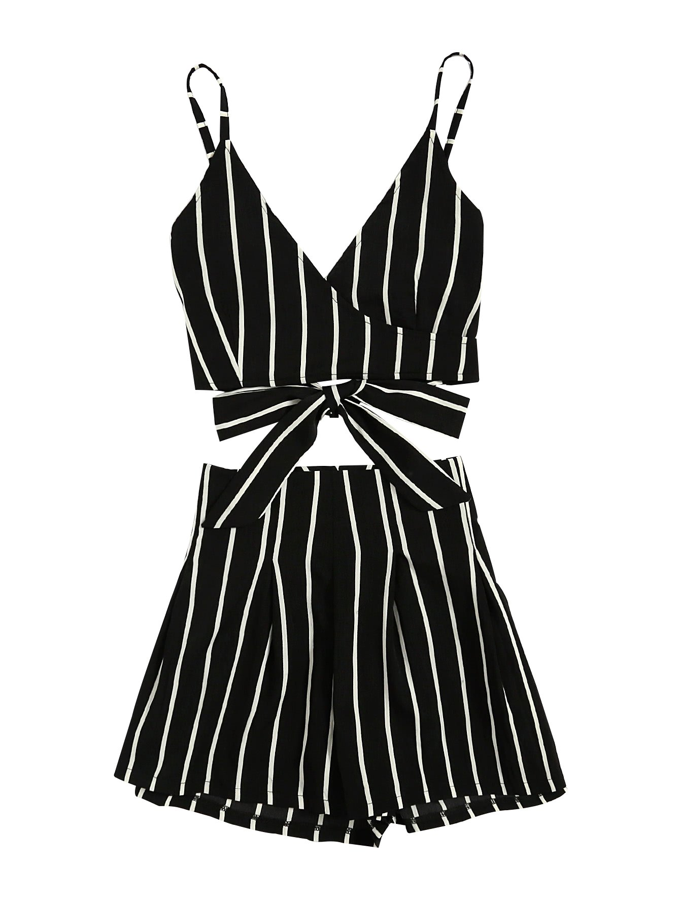 MakeMeChic Women's 2 Piece Outfit Summer Striped V Neck Crop Cami Top with Shorts Black L