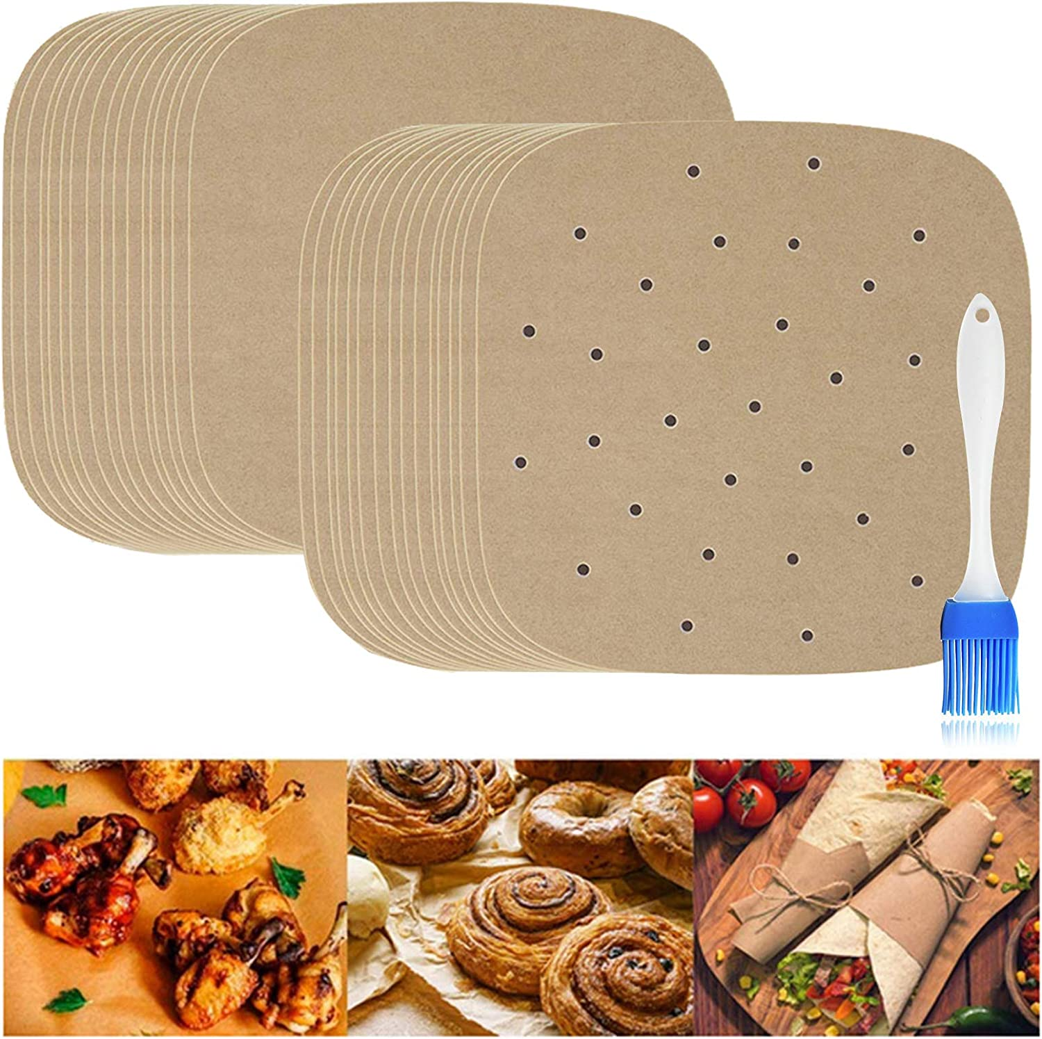 Liners Air Fryer Parchment Paper, IMISUTD 9 Inch Perforated Unbleached Bamboo Steamer Liner Paper for Air Fryer Basket, Cake Pan( Square, 150Pcs)