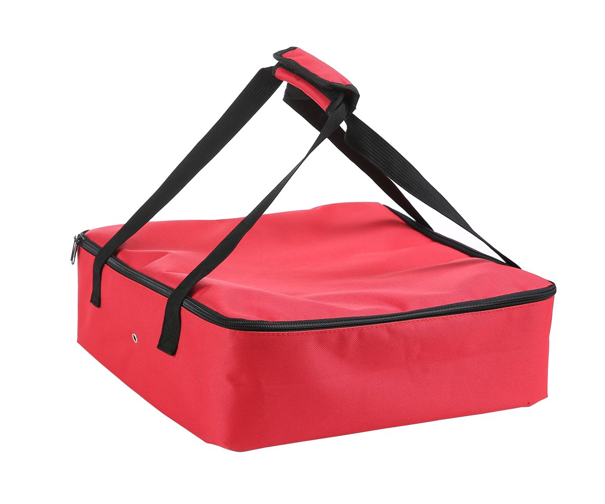Polyester Insulated Pizza/Food Delivery Bag Professional Pizza Delivery Bag Professional Takeaway Packet 14''×14''×4.5''(Red)
