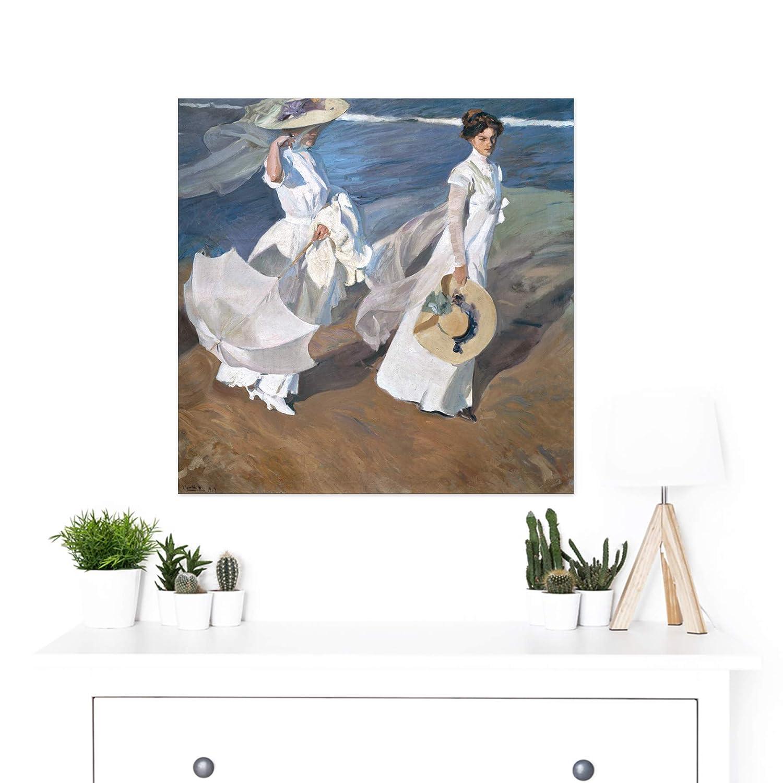 Joaquin Sorolla Y Bastida Strolling Along The Seashore Premium Wall Art Canvas Print 24X24 Inch