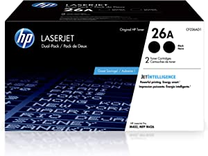 HP 26A | CF226AD1 | 2 Toner Cartridges | Black, 26A Dual Toner Pack