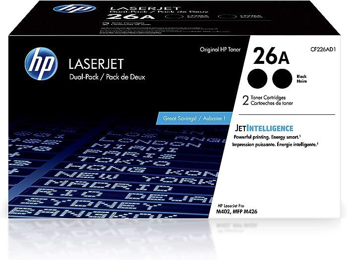 HP 26A | CF226AD1 | 2 Toner Cartridges | Black, 26A Dual Toner Pack
