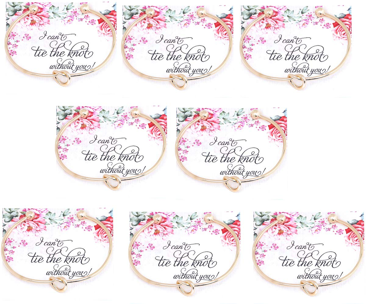 Vesungimey Love Knot Bracelet Bangle I Can't Tie The Knot Without You Bridesmaid Cards Bridesmaid Cuff Bracelet for Women - Silver,Gold,Rose Gold,Set of 1,4,6 (Gold 8pcs) by Vesungimey