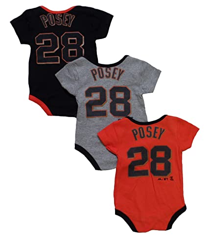Buster Posey San Francisco Giants Name and Number Baby Infant 3 Piece  Creeper Set ( b30a85b22