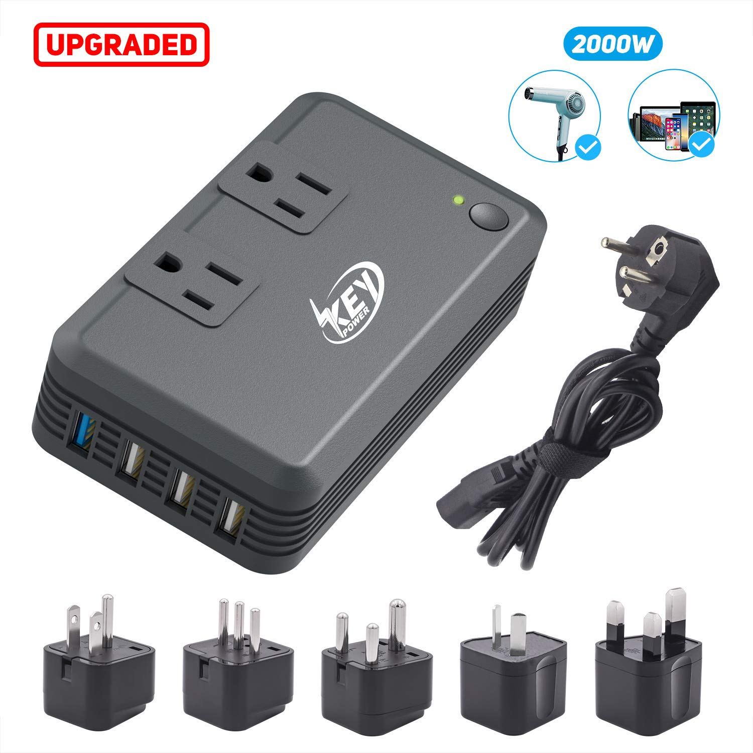 Key Power 2000-Watt Step Down 220V to 110V Voltage Converter & International Travel Adapter Plugs - [Use for USA High-Wattage Appliance Overseas] (Upgraded with Advanced Multiple Protections)