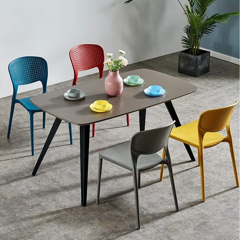 JIEER-C Fritidsstolar matstol modern minimalistisk plaststol nordisk fritid ryggstöd stol restaurang kreativt hushåll 47 x 50 x 79 cm hållbar stark BLÅ