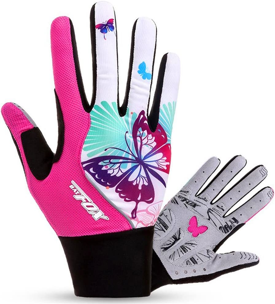 FreeMaster Full Finger Gel Girl's Cycling Gloves Touch Screen Sport Women's Half Fingerless Mountain Road Gloves Bicycle Bike Mittens Pink: Sports & Outdoors